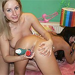Two nice teens jerk with toys